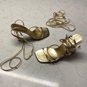 Colin Stuart Metallic Gold Strappy Heels